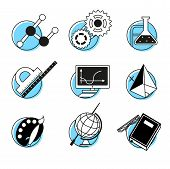 picture of discipline  - Science linear icons set school lessons disciplines concept back to school - JPG