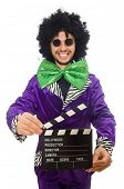 image of clapper board  - Funny man in wig with clapper board isolated on white - JPG