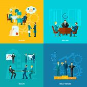 stock photo of collaboration  - Collaboration design concept set with meeting rivalry result merger flat icons isolated vector illustration - JPG