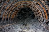 picture of tunnel  - Tunnel in a coal mine at a depth of 700 meters below ground - JPG