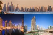 stock photo of marina  - Collage of the beauty panorama at Dubai marina - JPG