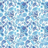 foto of indigo  - Seamless ethnic background in indigo shadows with eastern ornaments  - JPG