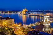 stock photo of hungarian  - Budapest Hungarian Parliament and Danube at blue hour - JPG