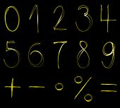 foto of math  - Flourescent numbers and math symbols in yellow neon color - JPG