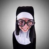 pic of nun  - Funny nun isolated on the white background - JPG