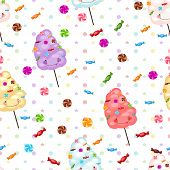 stock photo of candy cotton  - Seamless pattern of sweets cotton candy lollipops - JPG