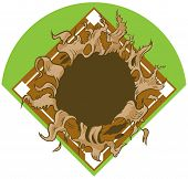 Hole Ripping Out Of Baseball Diamond Vector Cartoon Clip Art poster
