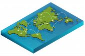 Постер, плакат: Map world isometric concept 3d flat illustration of Map world Vector world map connection Politica