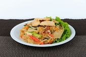 Постер, плакат: Rice Noodles Stir fried with Chicken Guay Tiew Kua Gai Thai Street Food