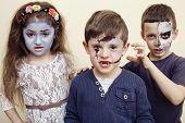Постер, плакат: zombie apocalypse kids concept Birthday party celebration facepaint on children dead bride scar fa
