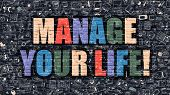 Постер, плакат: Manage Your Life in Multicolor Doodle Design