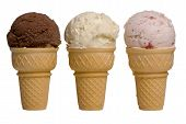 stock photo of ice cream cone  - 3 different flavors of ice cream cones - JPG
