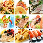 Collage of seafood images.  Includes calamari, smoked salmon, rainbow trout, prawns, atlantic salmon