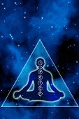 silhouette of a man with chakra symbols and mystical pyramid like a concept of esoteric cosmic heali