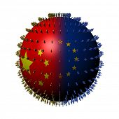 China EU flag sphere surrounded by people illustration