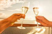 Luxury cruise ship travel couple toasting champagne glasses for celebration honeymoon. Caribbean hol poster