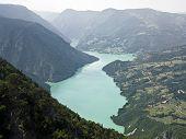 Mount Tara and Drina rivers poster