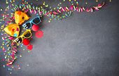Colorful birthday or carnival background with party items. Festivity concept poster