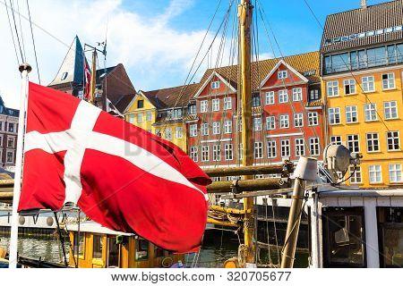 poster of Copenhagen Iconic View. Famous Old Nyhavn Port In The Center Of Copenhagen, Denmark During Summer Su