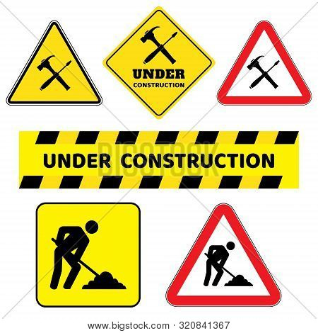 poster of Under Construction Sign Collection.six Construction Sign Drawing By Illustration.under Construction