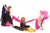 stock photo of toddlers tiaras  - Angry Selfish Pageant Girls Fighting Over Fabric and Dress Designer Over White - JPG