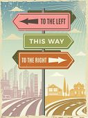 Road Direction Boards. Modern Street Directional Street Arrows Vector Background Pictures. Illustrat poster