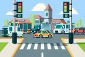 City Road Traffic. Urban Landscape Intersection With City Cars In Street Crosswalk With Lights Vecto poster