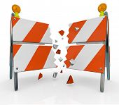 stock photo of overcoming obstacles  - A roadblock barrier or barricade is split as you break through to freedom - JPG