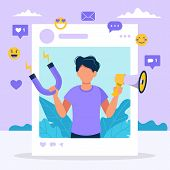 Social Media Influencer. Illustration With Man Holding Megaphone And Magnet In The Social Profile Fr poster