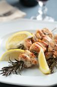 pic of souvlaki  - Chicken souvlaki on rosemary sticks with lemon - JPG