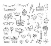 Birthday Sketch. Happy Birthday Celebration Party Hand Drawn Items. Cake Kids Holiday Doodle Art Dra poster