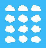 White Simple Clouds. Thinking Bubbles, Cloud Message Shapes. Cumulus Isolated On Blue Background. Ca poster