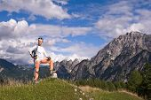 Woman Hiker Hiking Looking At Scenic View Of Mountain Landscape . Adventure Travel Outdoors Person S poster