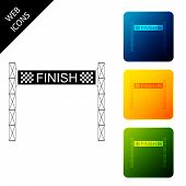 Ribbon In Finishing Line Icon Isolated. Symbol Of Finish Line. Sport Symbol Or Business Concept. Set poster
