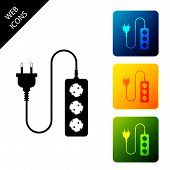 Electric Extension Cord Icon Isolated. Power Plug Socket. Set Icons Colorful Square Buttons. Vector  poster