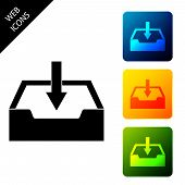 Download Inbox Icon Isolated. Set Icons Colorful Square Buttons. Vector Illustration poster
