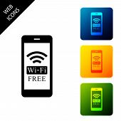 Smartphone With Free Wi-fi Wireless Connection Icon Isolated. Wireless Technology, Wi-fi Connection, poster