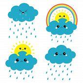 Sun, Cloud, Rainbow, Rain Set. Smiling Sad Face. Rain Drop Weather. Friends Forever. Fluffy Clouds.  poster