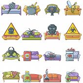 Disinfection Icons Set. Cartoon Set Of 16 Disinfection Vector Icons For Web Isolated On White Backgr poster