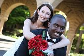 stock photo of wedding couple  - An attractive man and woman wedding couple ready to be married - JPG