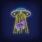 Ufo Abducting Cow Neon Sign. Invasion, Fantasy, Extraterrestrial Intelligence Design. Night Bright N poster