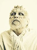 Wizard With Dragon Skin. Demon With Silver Beard On White Background. Monster With Thorns On Face. M poster