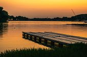 Sunset On Lake Nature. Nature Lake In Sunset. Beautiful Sunset In The Nature With Pier. Autumn Sunse poster