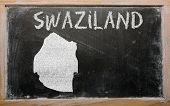 Outline Map Of Swaziland On Blackboard