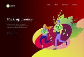 Landing Page Template Happy People With Money, Characters In Move Make Money. Business Investment, M poster
