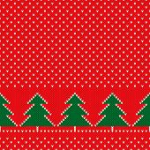 Winter Holiday Seamless Knitted Pattern With A Christmas Trees. Nordic Sweater Design. Wool Knit Tex poster