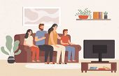 Family Watching Television Together. Happy People Watch Tv In Living Room, Young Family Watching Mov poster