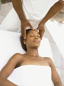 image of scalping  - Young woman having a scalp massage - JPG