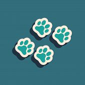 Green Paw Print Icon Isolated On Blue Background. Dog Or Cat Paw Print. Animal Track. Long Shadow St poster