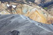 Tourists Pass On The Slope Of The Mountain Route In Landmannalaugar. Iceland poster